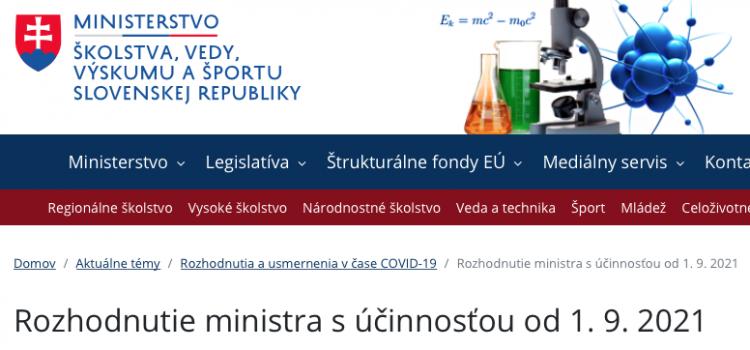 Rozhodnutie ministra s účinnosťou od 1. 9. 2021